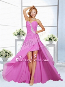 Beautiful Lilac Empire Appliques and Ruching Sweetheart Prom Dress