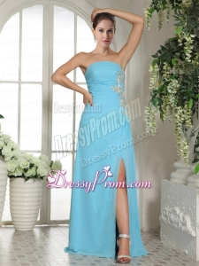 Empire High Slit Strapless Baby Blue Prom Dress with Ruches and Appliques