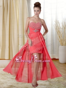 Fashionable Beading and Ruching Column Sweetheart Prom Dress in Watermelon Red