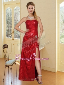 Red Sweetheart Celebrity Dress with Sequins and High Slit