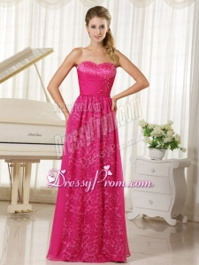 2015 Popular Hot Pink Leopard and Chiffon Sweetheart Beading Prom Dress