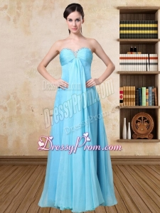 2015 Simple Aqua Blue Sweetheart Prom Dress with Beading