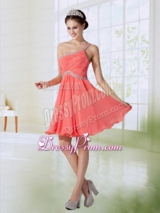 Cute One Shoulder Chiffon Empire Prom Dress in Watermelon