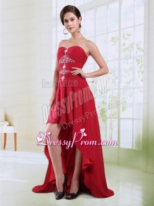 Red Sweetheart High Low Prom Dress with Beading and Ruching