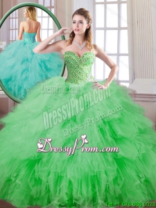 Beautiful Spring Green Sweet 16 Dresses with Beading for 2016