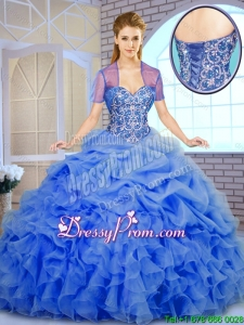 Best Selling Beading and Ruffles Quinceanera Dresses in Blue