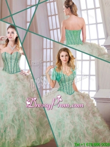 Gorgeous Beading and Ruffles Multi Color Quinceanera Dresses