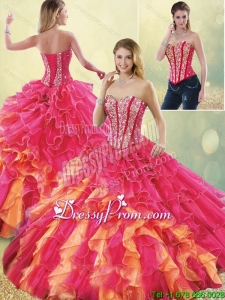 Gorgeous Multi Color Quinceanera Dresses with Beading and Ruffles