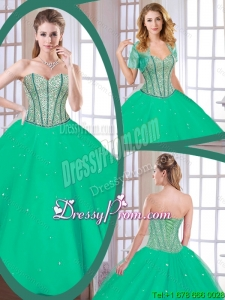 Latest Green Sweetheart Quinceanera Gowns with Beading