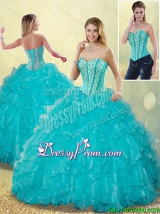 Elegant Aqua Blue Sweet 16 Dresses with Beading and Ruffles