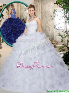 Elegant Brush Train Straps Quinceanera Dresses with Beading and Ruffles