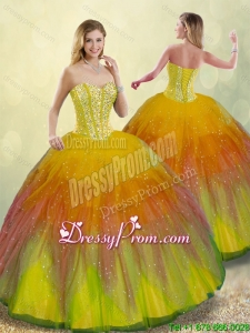 Luxurious Beading Quinceanera Gowns with Floor Length