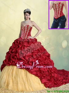 Luxurious Beading and Pick Ups Sweet 16 Dresses with Brush Train