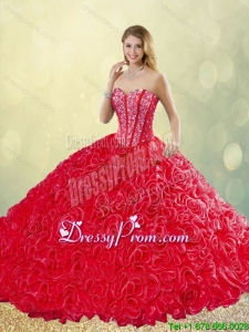 New Style Brush Train Rolling Flowers Quinceanera Dresses in Red