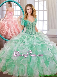 Popular Beading and Ruffles Multi Color Quinceanera Dresses