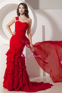 Red Mermaid Watteau Train Ruffled Layers Gorgeous Chiffon Prom Dress with One Shoulder