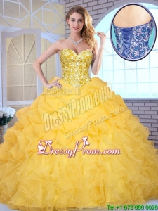 Elegant Yellow Quinceanera Gowns with Beading and Ruffles