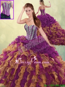 Fashionable Brush Train Beading Sweet 16 Dresses in Multi Color