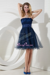 2015 Charming Navy Blue Princess Strapless Organza Beading Prom Dress