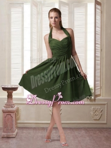 Dark Green Halter Top Chiffon Sleeveless Prom Dress with Ruching