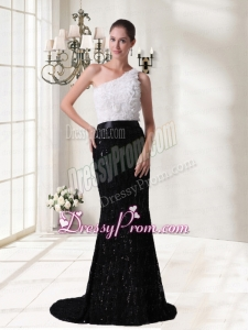 Elegant Column Sash One Shoulder Brush Train Prom Dress