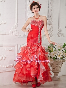 2015 Gorgeous Red Mermaid Sweetheart Beading Organza Evening Dress