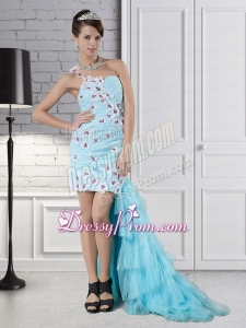 Aqua Blue Column One Shoulder High Low Beading Prom Dress