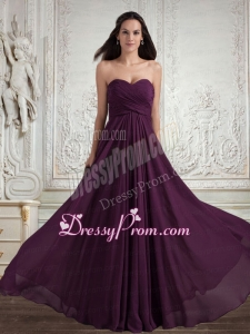 Dark Purple Sweetheart Empire Ruching Popular Chiffon Prom Dress