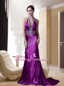 Eggplant Purple Halter Beading and Appliques Prom Dress with Brush Train