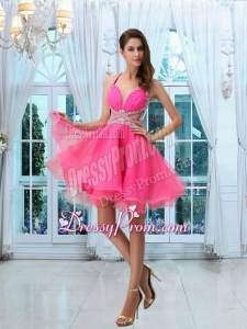 Hot Sale Halter Mini Length Beading Prom Dress in Hot Pink