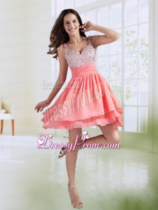 Short A Line Straps Beading Prom Dress in Watermelon Red