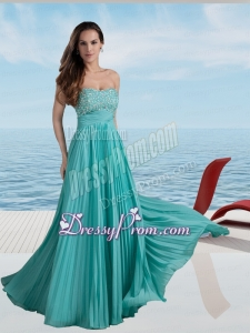 Turquoise Empire Strapless Beading Prom Dress with Pleats
