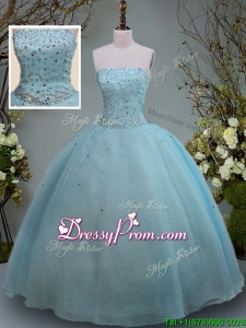 2017 Discount Big Puffy Aquamarine Strapless Quinceanera Gown with Beading