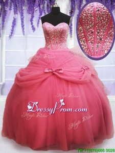 2017 Perfect Tulle Watermelon Red Quinceanera Dress with Beading and Bowknot