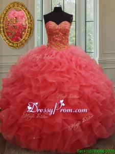 Best Really Puffy Beaded and Ruffled Organza Quinceanera Gown in Coral Red