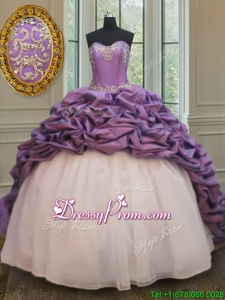 Popular Organza and Taffeta White and Purple Quinceanera Dress with Court Train