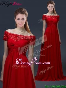 Simple Off the Shoulder Short Sleeves Red Prom Dresses with Applique
