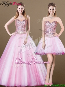 Lovely A Line Sweetheart Beading Detachable Prom Dresses for 2016