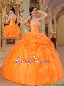 Exclusive Orange Red Ball Gown Sweetheart Quinceanera Dresses