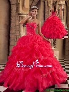 Popular Coral Red Sweetheart Quinceanera Gowns with Beading