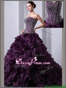 Perfect A Line Brush Train Beading and Ruffles Quinceanea Dresses
