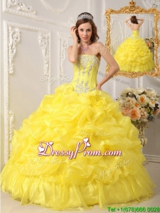 Summer Elegant Ball Gown Strapless Floor Length Quinceanera Dresses