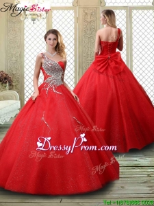 2016 Classical One Shoulder Prom Dresses with Beading in Red