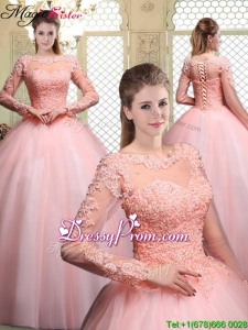 2016 Pretty Bateau Long Sleeves Beading and Appliques Quinceanera Dresses