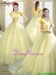 Stylish Bateau Brush Train Quinceanera Dresses