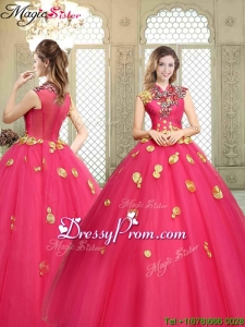 Stylish High Neck Cap Sleeves Quinceanera Dresses with Appliques