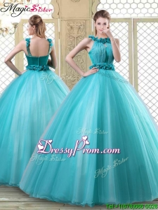 2016 Stylish Bateau Quinceanera Dresses with Ruffles in Teal