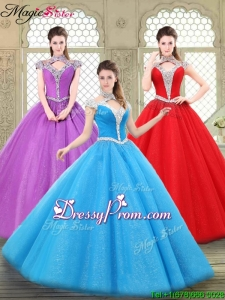 2016 Stylish Halter Top Quinceanera Gowns with Beading