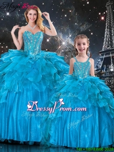 New Arrivals Sweetheart Princesita With Quinceanera Dresses with Beading in Teal