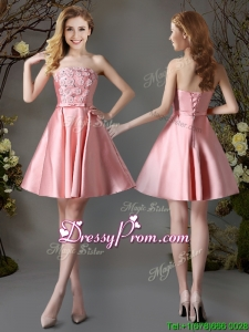 Best Selling Applique and Bowknot Pink Short Dama Dress in Satin